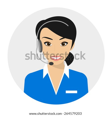 Female call centre operator with headset. Flat moderm style - stock photo