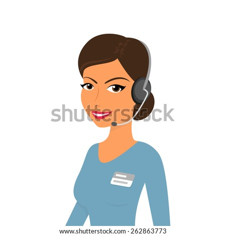 Female call centre operator with headset. Isolated on white - stock photo