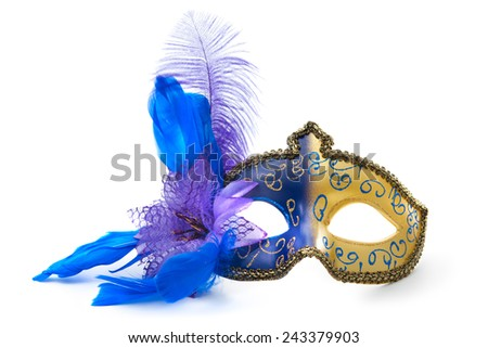 Female carnival mask isolated on white background - stock photo