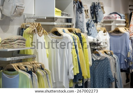 female casual clothes   in boutique - stock photo