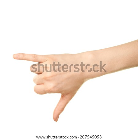 Female caucasian be in touch calling hand gesture isolated over the white background - stock photo