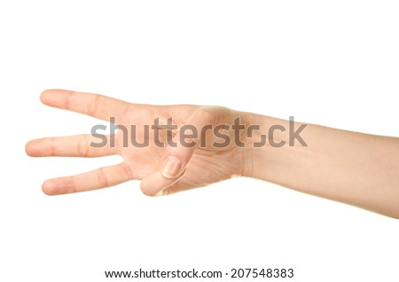 Female caucasian hand gesture showing three fingers isolated over the white background - stock photo