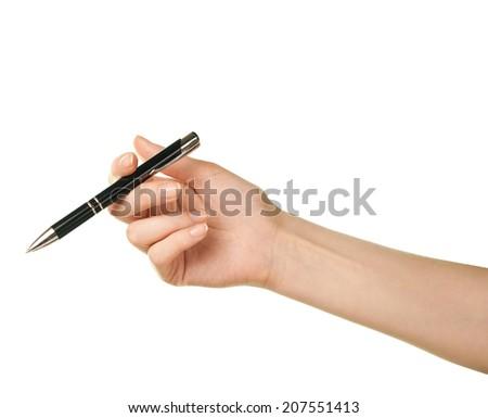 Female caucasian hand holding black pen, isolated over the white background - stock photo