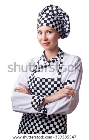 Female chef in uniform isolated on white - stock photo