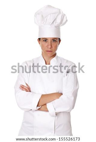 Female chef isolated on white background - stock photo