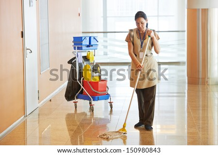 Female Cleaner Maid Woman Worker With Mop In Uniform