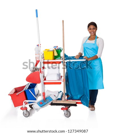 Female Cleaner With Cleaning Equipment. Isolated On White - stock photo