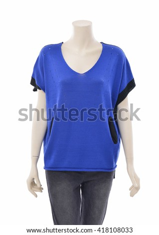 female clothing in blue dress on mannequin - stock photo