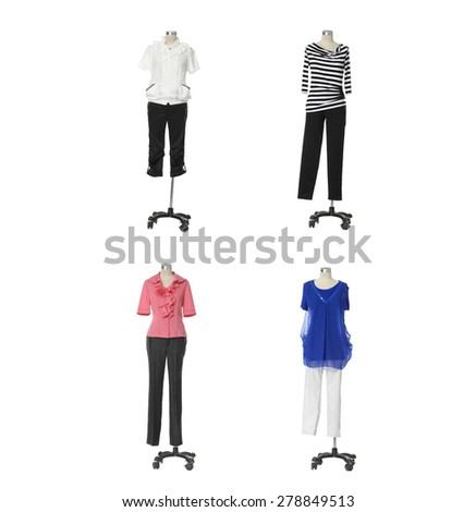 Female clothing on four mannequin isolated - stock photo