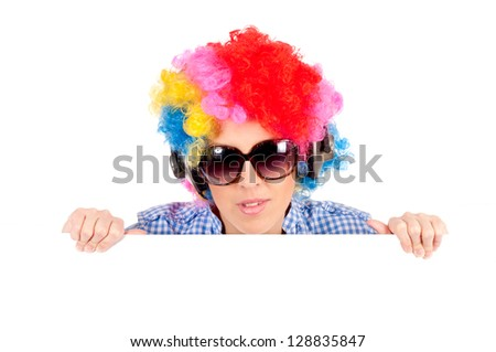 Female clown holding blank space - stock photo