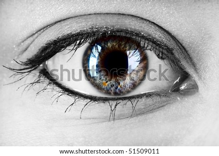 female colored eye with a strong contrasted pupil - stock photo