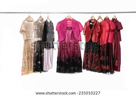 female colorful sundress isolated on hanging  - stock photo