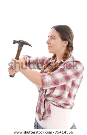Female Construction worker with Hammer - stock photo