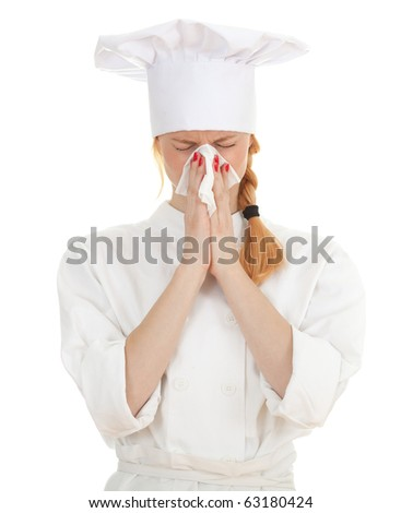 female cook with snotty, blowing runny nose - stock photo