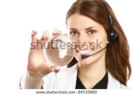Female customer service operator with glass earth  isolated on white - stock photo