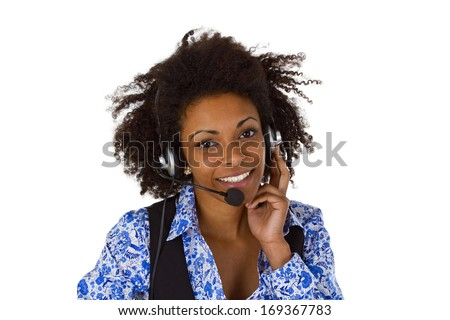 Female customer support operator with headset and smiling - isolated on white background - stock photo