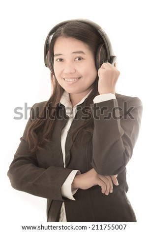Female customer support operator with headset and smiling.  on white background - stock photo