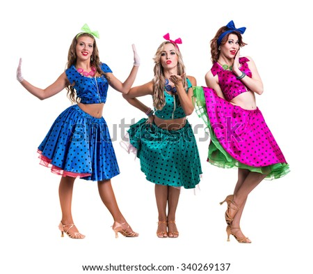 Female disco dancers showing some movements against isolated white background  in full length - stock photo