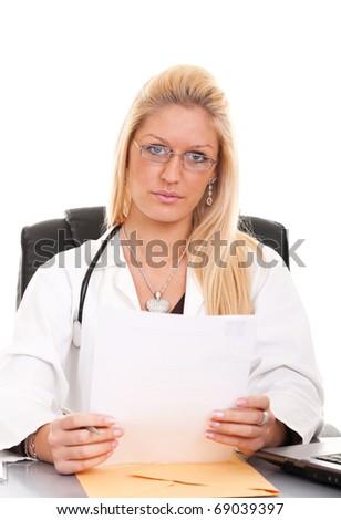 Female doctor isolate on white background - stock photo