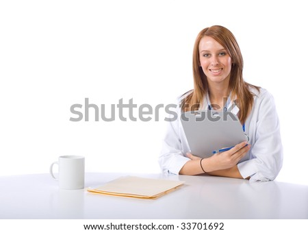 Female doctor isolated on white - stock photo