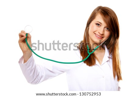 Female doctor or nurse holding stethoscope. Medical person for health insurance. Isolated on white background - stock photo