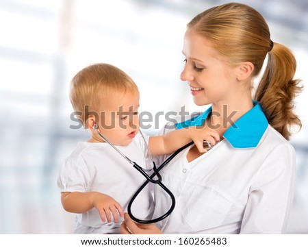 female doctor pediatrician and patient happy child baby - stock photo