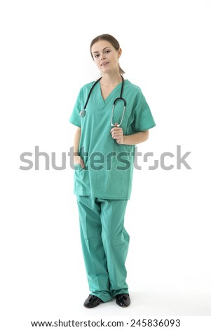 Female doctor wearing a green scrubs and stethoscope. Isolated on white.  - stock photo
