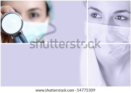 Female doctor with mask and stethoscope. - stock photo