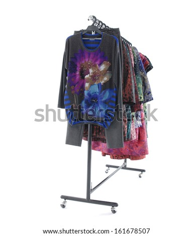 female dress isolated on hanging  - stock photo