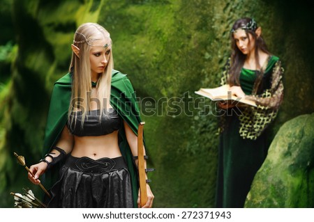 female elves in fairy mountains - stock photo