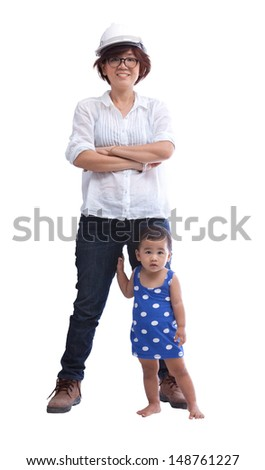female engineer with baby standing beside isolated on white - stock photo
