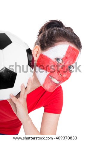 female english soccer fan with ball is looking happy, isolated on white - stock photo