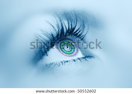 Female eye close up. A color pupil. Selective focus. - stock photo