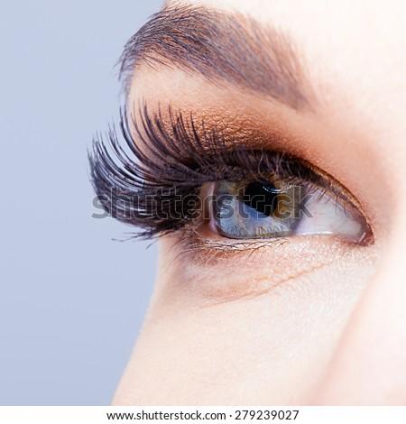 Female eye with long eyelashes closeup shot  - stock photo