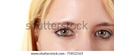 Female eyes macro isolated on white - stock photo