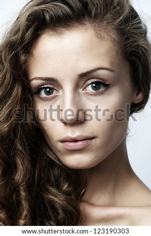 female fashion model with blond hair portrait shot - stock photo