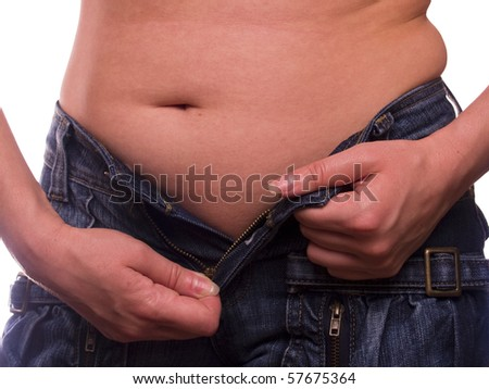 Female fat stomach isolated on the white - stock photo