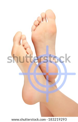 Female feet, white background, footcare concept - stock photo