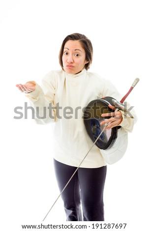 Female fencer shrugging - stock photo