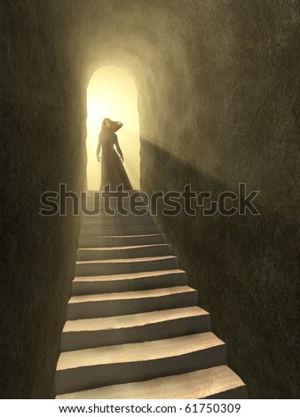Female figure standing at the exit of an old tunnel. Digital illustration. - stock photo