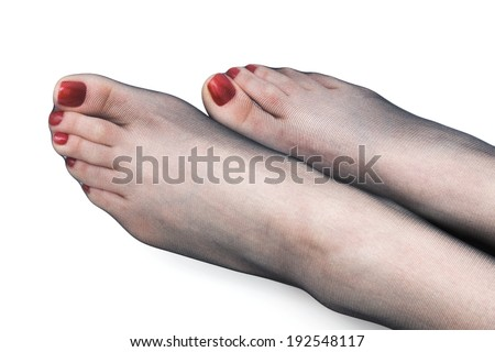female foot in stockings on a white background - stock photo