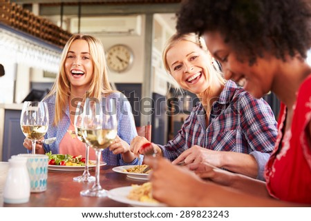 Female friends eating at a restaurant - stock photo