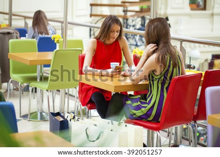 Female Friends Having Lunch Together At The Shop  - stock photo