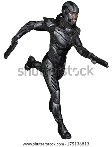 Female futuristic science fiction soldier in protective armoured space suit, running holding pistols, 3d digitally rendered illustration - stock photo
