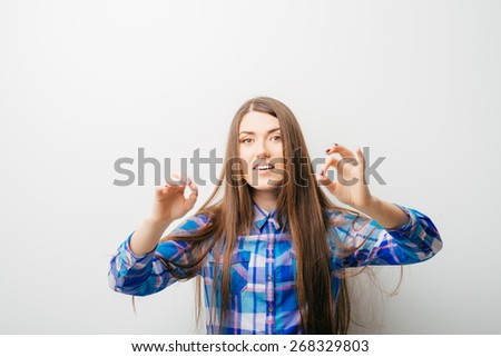female gesture conductor. isolated  - stock photo