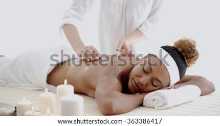 Female Getting A Massage - stock photo