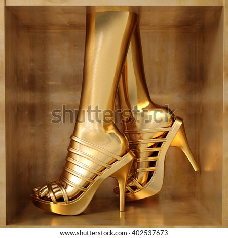 Female gold legs wearing summer high heels over golden background - stock photo