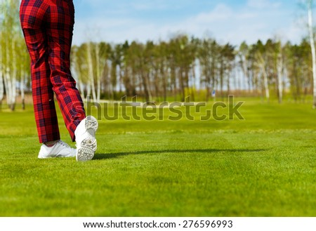 Female golf player swinging at fairway, back view - stock photo