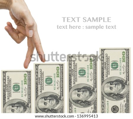 Female hand and money staircase - stock photo