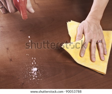 Female hand cleaning dining table - stock photo